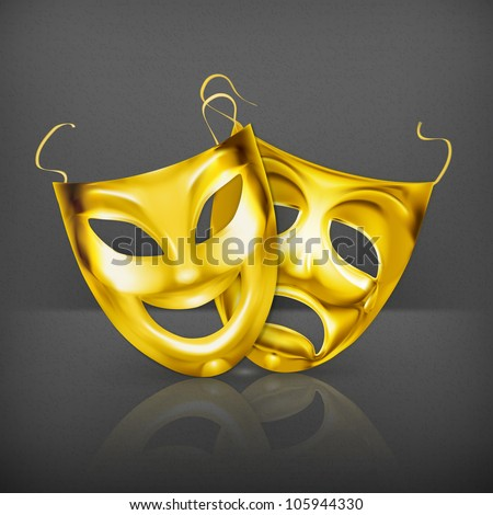 Gold theater masks, vector - stock vector