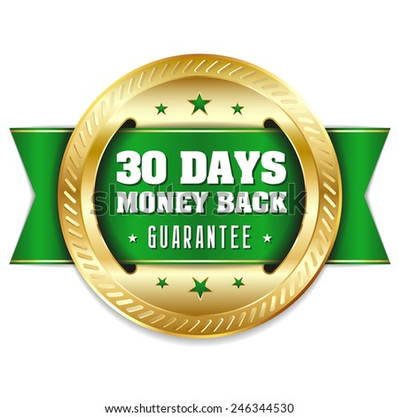 Gold thirty days money back badge with green ribbon - stock vector