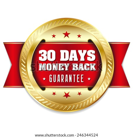 Gold thirty days money back badge with red ribbon - stock vector