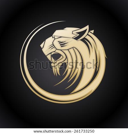 Gold tiger head logo template. - stock vector