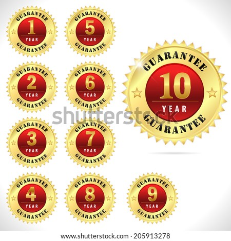 gold top quality guarantee badge from 1 to 10 year- vector eps 10 - stock vector