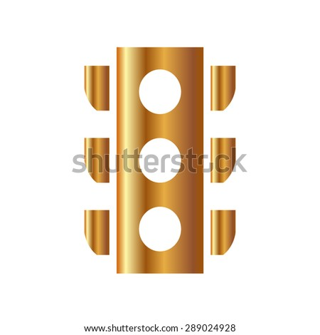 Gold Traffic light signal - Vector icon isolated
