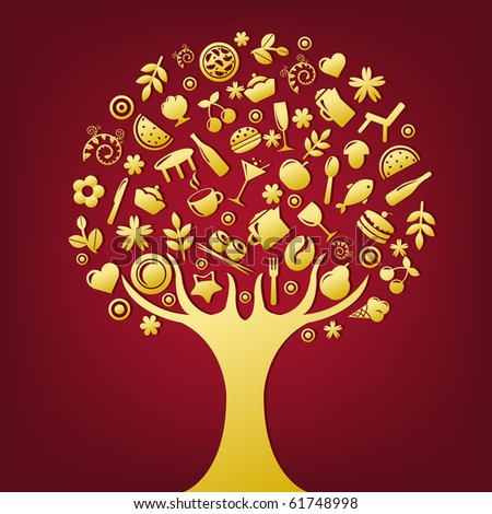 Gold Tree Made Of Products And Subjects Of Restaurant Icons, Vector Illustration - stock vector