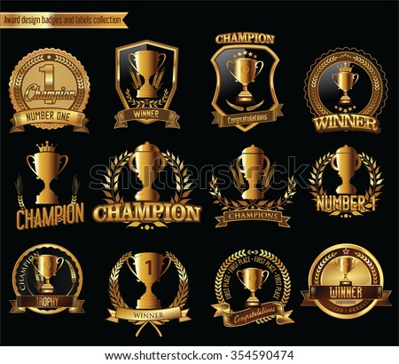 Gold trophy and medal with laurel wreath vector illustration - stock vector