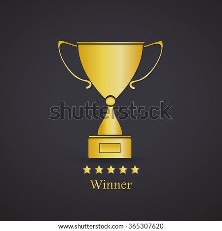 Gold Trophy Cup On Black Background Vector