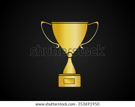 Gold Trophy Cup On Black Background Vector Illustration