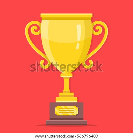 Gold Trophy Cup Premium Quality Modern Flat Design Graphic Elements Shiny Golden Winner