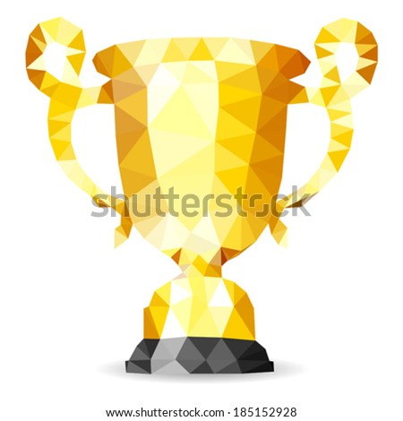 Gold Trophy in Mosaic Pattern, vector isolated on white background - stock vector