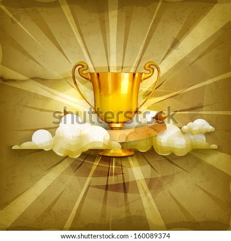Gold trophy, old style vector background - stock vector