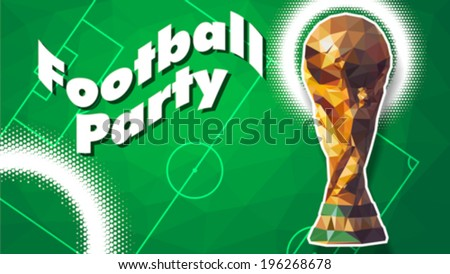 Gold trophy triangular pattern style - stock vector