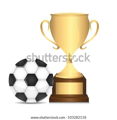 gold trophy with soccer ball isolated over white background. vector