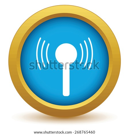 Gold TV tower icon on a white background. Vector illustration - stock vector