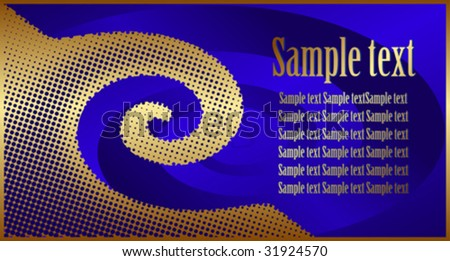 Gold twirl in holes on a blue background