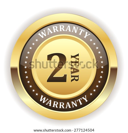 Gold two year warranty badge on white background - stock vector