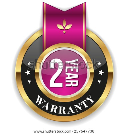 Gold two year warranty badge with purple ribbon on white background - stock vector
