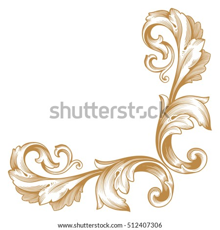 Gold vintage baroque corner ornament retro stock vector 512407306 gold vintage baroque corner ornament retro pattern antique style acanthus decorative design element filigree calligraphy junglespirit Image collections