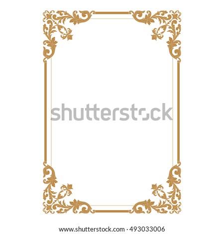 Gold Vintage Baroque Element Ornament Retro Pattern Antique Style Acanthus Decorative Design Filigree