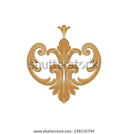 Vintage baroque frame leaf scroll floral stock vector for Baroque design elements