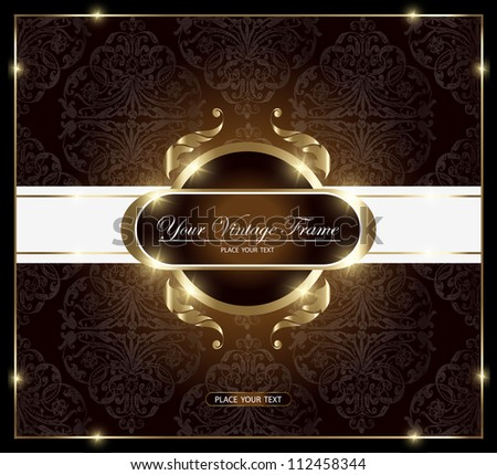 gold vintage card - stock vector
