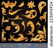 Gold Vintage Elements. High detail Floral ornament.  Flourish pattern. Vector. - stock vector