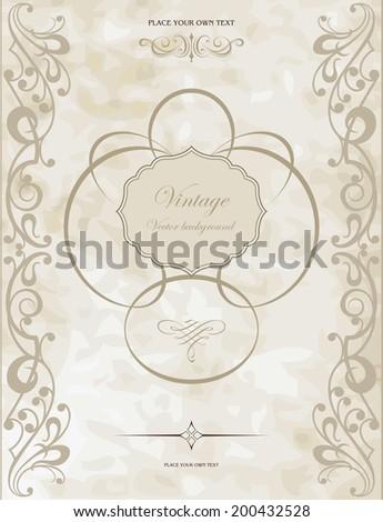 Gold vintage frame - stock vector