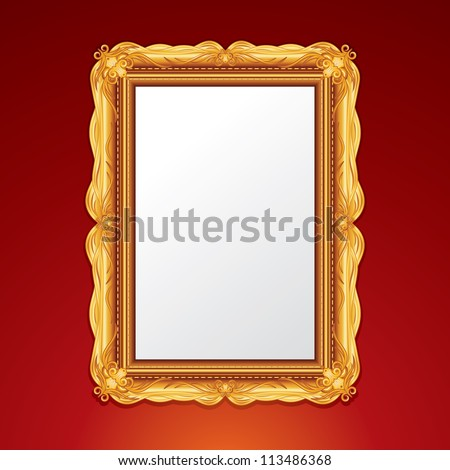 Gold Vintage Picture Frame. Vector Illustration - stock vector