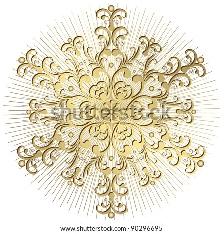Gold vintage snowflake with rays on white background (vector)