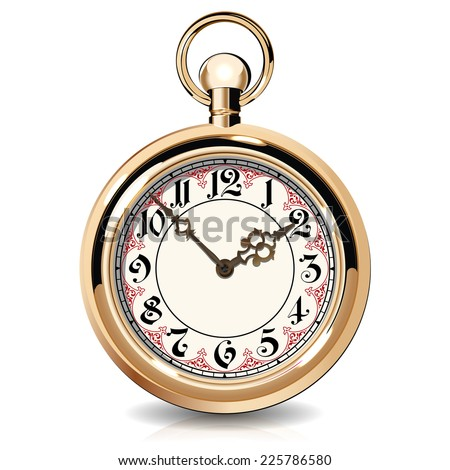 Gold vintage watches isolated on white background - stock vector