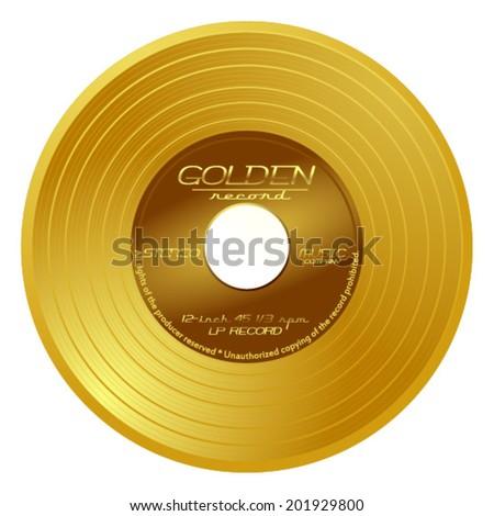 Gold vinyl - music award, golden record, gold disc, vector art image illustration, eps10, isolated on white background  - stock vector