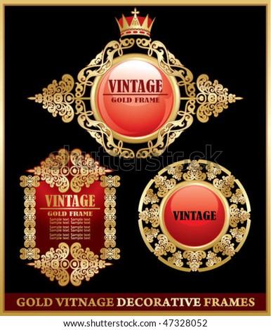 gold vitnage decorative frames - stock vector
