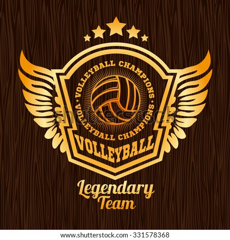 Gold volleyball emblem on the wooden texture. Vector sport badge for tournament or championship. - stock vector