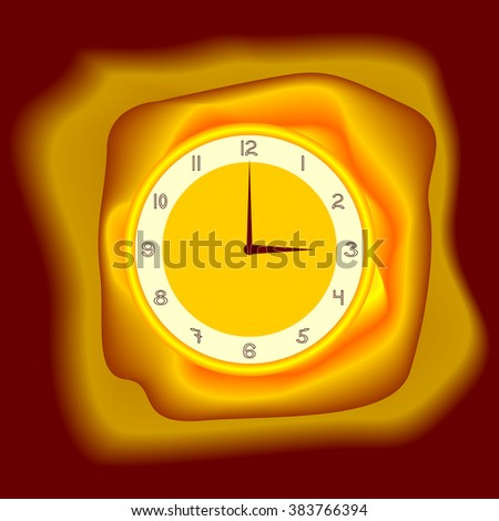 gold watch on satin fabric - stock vector