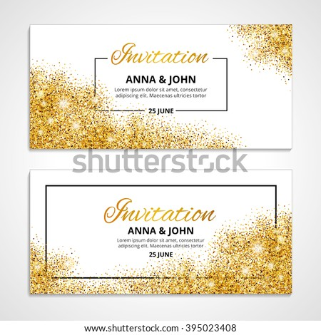 Gold wedding glitter invitation for weddings, background, anniversary marriage engagement. Golden vector texture. greeting card. Save the date. Light bright sparkles. For flyer, invite, fashion, shine - stock vector