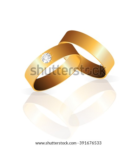 gold wedding 2 ring with diamond Engagement vector