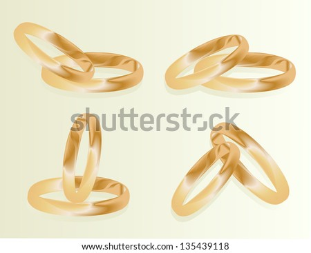 Gold wedding rings vector background set concept - stock vector