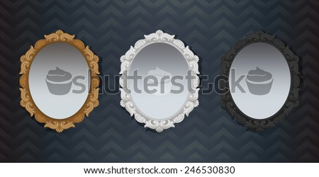 Gold white black Ornate Vintage Hollywood classic framed Mirror. Element of interior decoration. Three colors mirrors on the stereo wallpaper. Elements for your design, wedding cards, illustrations. - stock vector