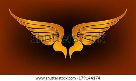 Gold Wings Vector - stock vector