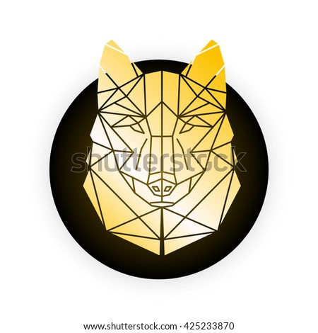 Gold wolf Abstract geometric polygonal triangle illustration for use in design for card, invitation, poster, banner, placard, billboard cover. Gold Wolf head on black and white background.