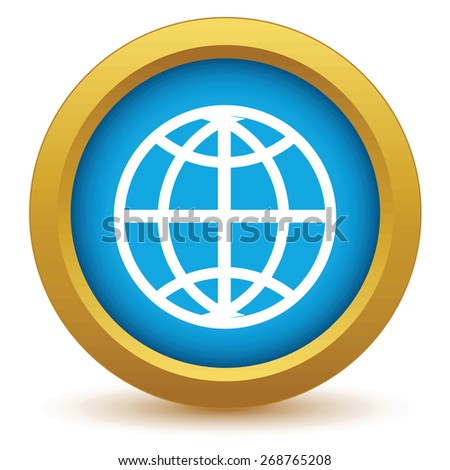 Gold world icon on a white background. Vector illustration - stock vector