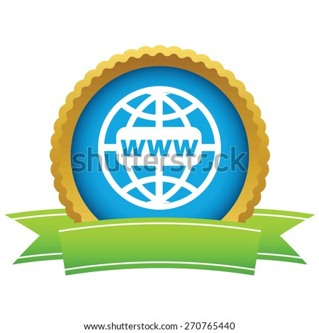 Gold www world logo on a white background. Vector illustration - stock vector