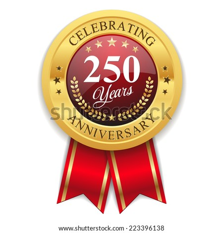 Gold 250 years anniversary badge with red ribbon on white background