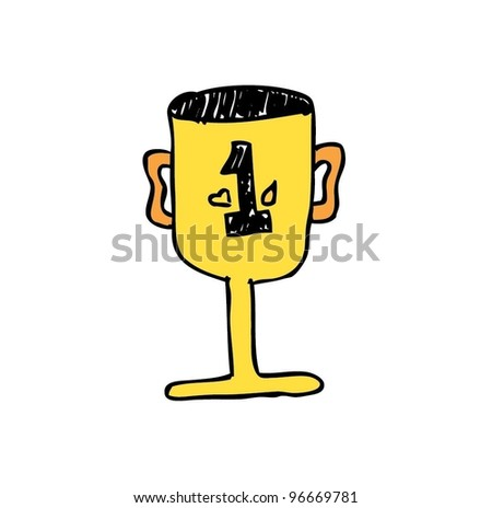 gold / yellow trophy first place - vector illustration - stock vector