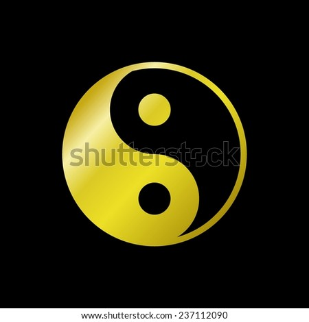 Gold Ying-yang icon on black background - stock vector