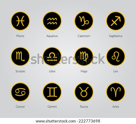 Gold Zodiac Symbols, signs, shape, icon on black background - stock vector