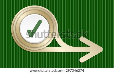 Golden abstract arrow and check box - stock vector
