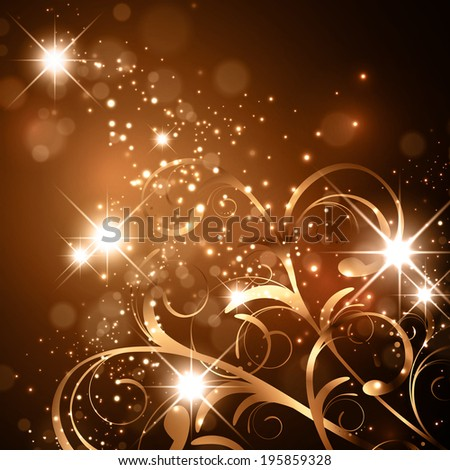Golden Abstract Bright Floral Background With Stars and Lights - stock vector