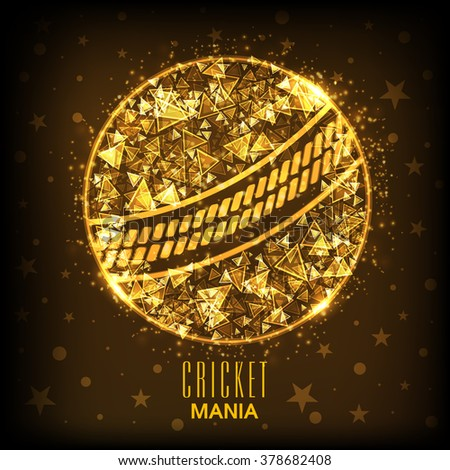 Golden abstract design decorated creative ball on brown background for Cricket Mania concept. - stock vector