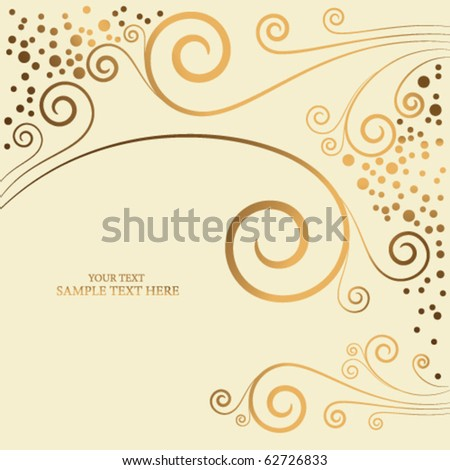 golden abstract floral background - stock vector