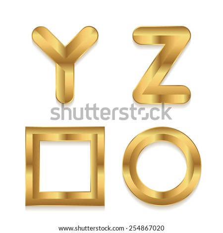Golden alphabet. Set of metallic 3d letters. Vector letters Y Z. Square and circle frame. - stock vector