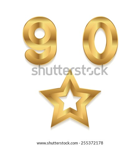 Golden alphabet. Set of metallic 3d numbers. Vector digits 9 0. Star frame. - stock vector